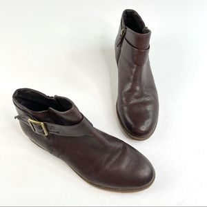 Franco Sarto Brown Ankle Boots Side Zipper